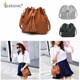 leegoal Fashion Women Tassel Handbag Shoulder Messenger Bag ,Brown- intl