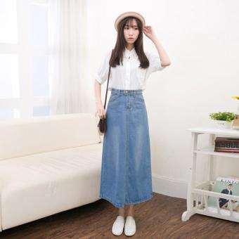 Light Denim Skirting Women Skirts Korean Bust Skirts Big SkirtMidiskirts A-line Midium Dress Skirts Students Casual Jeans - intl