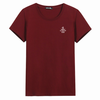 LOOESN cotton round neck Plus-sized base shirt T-shirt (Anchor red)