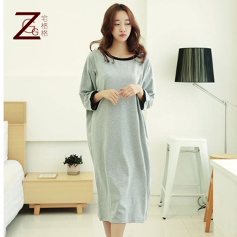 LOOESN cute cotton Spring and Autumn mid-length nightgown pajamas (Light gray color)