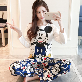 LOOESN Korean-style cotton female long-sleeved tracksuit pajamas (Blue Mickey)