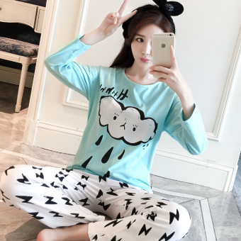 LOOESN Korean-style cotton female long-sleeved tracksuit pajamas (Blue Yun Yu)