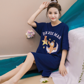 LOOESN Korean-style cotton female student pajamas summer nightgown (1103 Garfield dark blue lingerie)