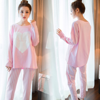 LOOESN Korean-style female long-sleeved tracksuit pajamas (Striped pink heart)