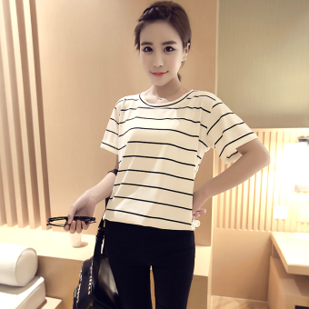 LOOESN Korean-style female student Short sleeve Top Striped short sleeved t-shirt (White [843 models])