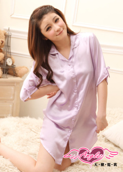 LOOESN Korean-style silk solid color off-the-shoulder nightgown female pajamas (Light purple 0011)