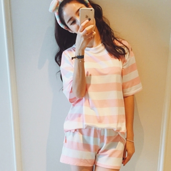 Loose Korean female student Short sleeve Top Striped short sleeved t-shirt (Pink [T-shirt to sell]) (Pink [T-shirt to sell])