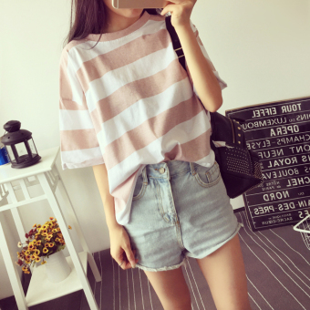 Loose Korean-style color female student Striped t-shirt short-sleeved Top (Pink color)