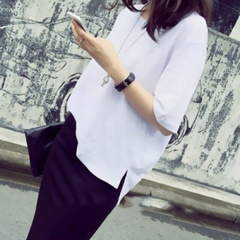 Loose Korean-style female student Short sleeve solid color Top T-shirt