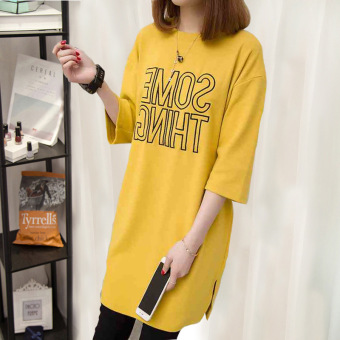 Loose Korean-style long section short-sleeved t-shirt (Yellow)