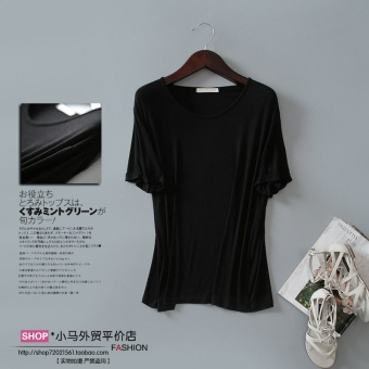 Loose Korean-style modal solid color summer T-shirt (Black)