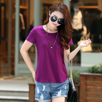 Loose Korean-style solid New style summer T-shirt (Violet)