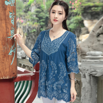 Loose national style cotton women embroidered flowers shirt meat (Sapphire blue color) (Sapphire blue color)