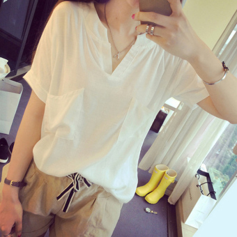 Loose Sen female linen Short sleeve commoner Linen shirt (White)
