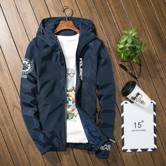 Loose Spring and Autumn New style to increase sports jacket men's jacket (Dark blue color)