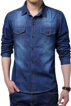 Men Casual Cool Long Sleeve Turn-down Collar Jean Shirt Thin Coat (Blue)