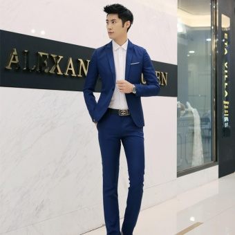 Men Formal Wedding Bridegroom Suit One Button Slim Fit Jacket Tuxedos Coat Pants(Royal Blue) - intl