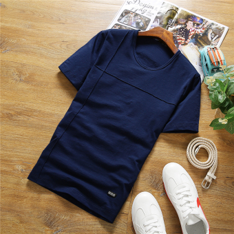 Men's Large Size Slim Fit Short Sleeve Solid Color 100% Cotton Shirt (Dark blue color 561)