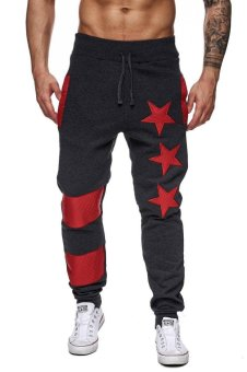 Men's Sports Pants Joggers and Sweats Five-pointed Star Design High-quality Casual Pants - Dark Grey - intl