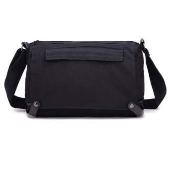 Men's All-match Casual Canvas Cross-body Messenger Bags (Black)