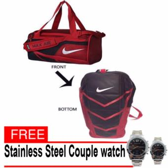 Mens Backpack Elite Max Air Varsity Red Sports Duffel Bag Gym Mens Womens Bag (red) with free couple Silver Stainless watch