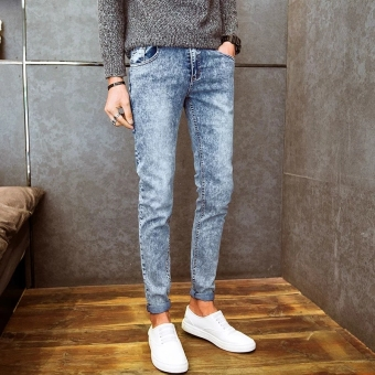 Mens Fashion Slim Casual Denim Pants Cotton Skinny Men Jeans FitTrousers - intl