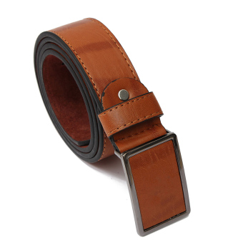 Mens Genuine Leather Vintage Metal Automatic Buckle Waist Band Strap Belt Brown