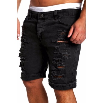 Mens Jeans Slim Fit Straight Skinny Denim Trousers Casual ShortsPants Black - intl