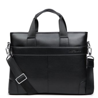 Mens Leather Laptop Briefcase Bag Satchel Shoulder Messenger BagsBlack - intl