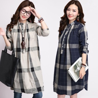 MM artistic New style long-sleeved plaid shirt (Dark blue color)