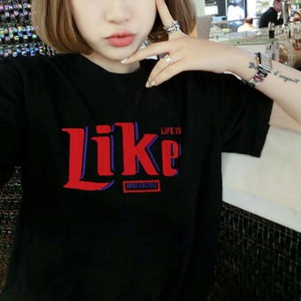 MM New style short sleeved slimming T-shirt Korean-style Top (5176 black)