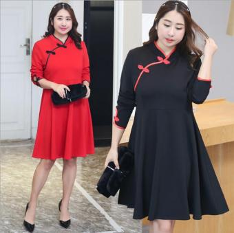 MM New style to increase in the long section dress collar dress (Black)