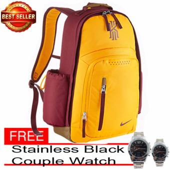 N-KYRIE YELLOW SPORTS GYM MENS WOMENS BACKPACK BAG With Free Couple Watch Stainless Black