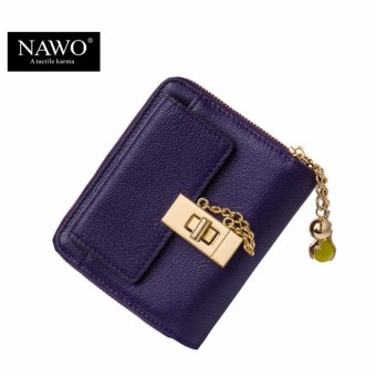 NAWOCow Genuine Leather Women Wallets Luxury Brand Small Wallet Credit Card Holder Wallets Ladies Short Coin Purse Purple - intl