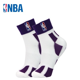 NBA fine comb Cotton Four Seasons paragraph breathable men socks basketball sports socks (White/purple)