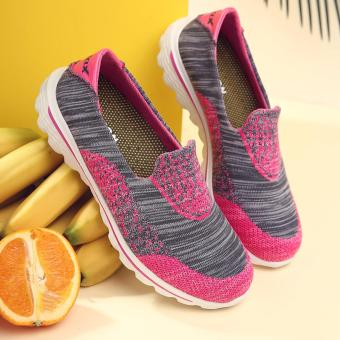 New Design Comfortable Casual Walking Women's Shoes(Rose Red) -intl
