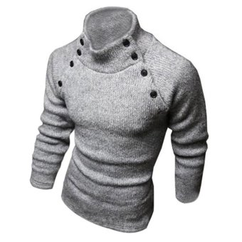 New Fashion Mens Turtleneck Slim Fit Long Sleeve Knit Cardigan Pullover Sweaters Gray - Intl