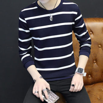 New style men's long-sleeved autumn hoodie base shirt (Small striped dark blue color)