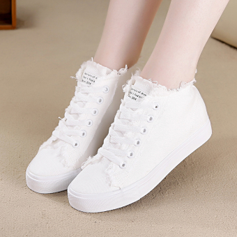New style student female canvas shoes white shoes (White)
