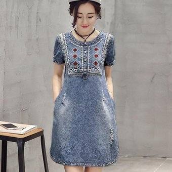 New Summer Embroidery Denim Dress Hot Sale Women Loose Fashion Jeans Lady Slim Short Sleeve Plus Size Dress - intl