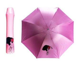 Novelty Wine Bottle Folding Portable Rain and Sun Umbrella (Lt. Pink bottle)