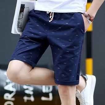 Ocean New Men Fashion Chino Shorts Leisure Teenagers printingCotton shorts(Dark blue) - intl