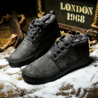 Old Beijing Plus velvet men winter low top shoes cotton-padded shoes (R501 gray)