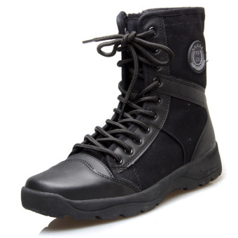 Outdoor Plus velvet hight-top Tactical boots cotton-padded shoes boots (Canvas single boots Models)
