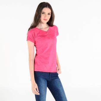 Penshoppe Short-Sleeved Henley Top (Hot Pink)