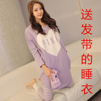 Pink Korean women's long-sleeved cotton tracksuit pajamas (Purple pink to send hair bands)