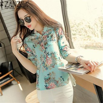 Plus Size S-5XL Blusas Floral Print Women V-neck Long Sleeve Camisetas Mujer Blouse Ladies Casual Loose Lapel Tops Shirts (Floral 1 Long Sleeve) - intl