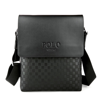 POLO leather men Shoulder Bag briefcase messenger bag business crossbody(Black) - intl