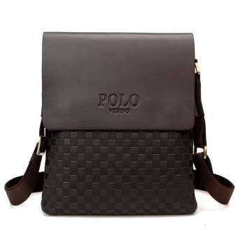 POLO leather men Shoulder Bag briefcase messenger bag business crossbody(Brown) - intl