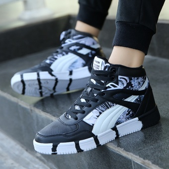 Popular High Sneakers Men Skateboarding Shoes Canvas Sneakers for Men Fashion Sports Shoes Walking Outdoor Shoes ( Black & White ) - intl